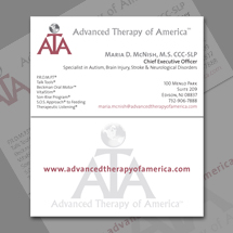 Logo and business card design for Advanced Therapy of America