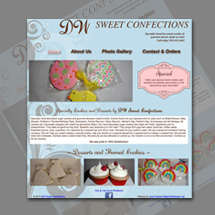 Custom designed web site for small home based cookie company
