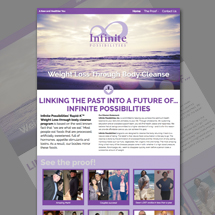Custom designed web site for Infinite Possibilities