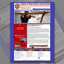 Custom web site design for Screen Action Stunt Association