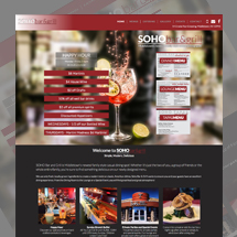 Custom designed web site for Soho Bar & Grill