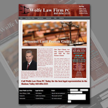 Custom designed web site for Wolfe Law Firm